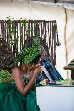 Sotho Wedding With The Bride In Green Seshweshwe Sotho Traditional Dresses, African Traditional Wedding Dress, Traditional Wedding Cakes, Wedding Hats, Wedding Blog, Wedding Dresses, Wedding Hijab, Wedding Attire, Dream Wedding