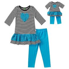 Dollie & Me Lace Heart Top & Leggings Set - Girls 4-14
