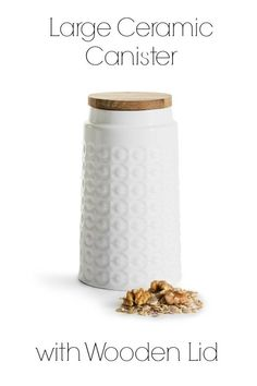 Beautiful large ceramic canister with oak wood lid. Perfect decorative storage for your kitchen countertop. Jar Storage, Kitchen Storage, Kitchen Must Haves, Gifts For Cooks, All Things Christmas, Christmas Gifts, Kitchen Canisters, Malm, Decorative Storage