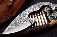 Hand-Engraved Scrolled CFK USA Custom Handmade D2 Hunter ULU Skinning Knife Art #CFKCutleryCo
