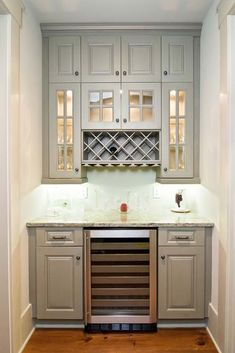love this grey color cabinets, for back wall bar area