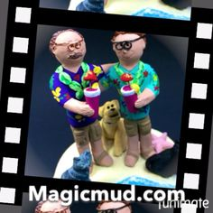 Wedding cake topper for two grooms #samesex #weddingCakeTopper for a #gaymarriage by #magicmud.com #gay #gaywedding #2grooms #samesexwedding #caketopper #caketoppers 1-800-231-9814 #rainbowwedding #samesexmarriage #gay #gays #2husbands