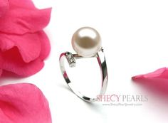 AAA quality White Cultured Freshwater Pearl Ring - White Gold Setting with CZ stone Pearl Ring, Pearl Earrings, Pearl Love, White Freshwater Pearl, Fresh Water, Free Gifts, White Gold, Pearls, Stone