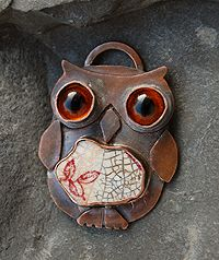 Moonflygirl: Pottery Shard Owl Pendant #2 - with some small changes...