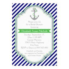 Navy blue, green nautical wedding bridal shower custom announcements