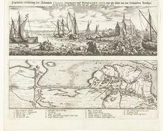 Anonymous | Mislukte aanval op fort Kallo, 1638, Anonymous, Bonaventura Peeters (I), 1638 | Blad met twee voorstellingen. Boven de vluchtende soldaten van het Staatse leger onder graaf Willem van Nassau-Siegen na de mislukte aanval op de schans bij Kallo, 21 juni 1638. De soldaten proberen door het water de gereedstaande boten te bereiken. Rechts het kerkje van Kallo. Onder een kaartje van de Kruisdijk aan de Schelde en de gevechten rond fort Kallo. In de plaat onder de voorstellingen de…