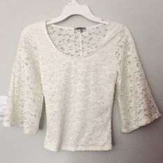 Charlotte Russe White Lace Top New with tag white lace top. Flared sleeves. Charlotte Russe Tops