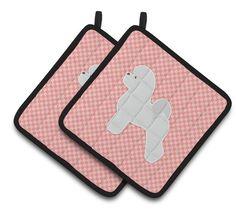 Bichon Frise Checkerboard Pink Pair of Pot Holders BB3645PTHD