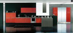 """Red and black luxury kitchen. Stainless steel for the """"silver! Luxury Kitchen Design, Interior Design Kitchen, Interior Ideas, Black Kitchens, Luxury Kitchens, Pop False Ceiling Design, Kitchen Modular, Küchen Design, Modern Design"""