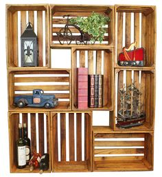 Quickway Imports Inc - Antique Style Wooden Crates, Easy to Stack for Decorative Shelving, $38.88 (http://www.quickwayimports.com/antique-style-wooden-crates-easy-to-stack-for-decorative-shelving/)