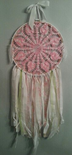 Dreamcatcher in pink,  white and green