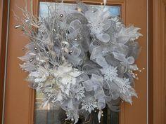 Winter Wonderland Deco Mesh Holiday Door Wreath