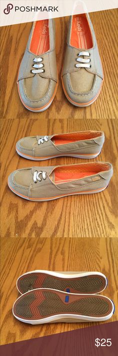Shoes Tan Keds with a hint of shimmer and peach piping around the bottom. Nwot. keds Shoes Sneakers
