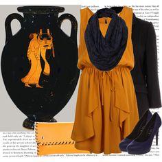 mustard yellow drape skirt dress, black boxy pocket coat, purple pump, yellow clutch, purple snood, baroque burn out snood.