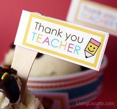 Free printable Thank You Teacher tags & fun Ice Cream Cupcakes recipe!