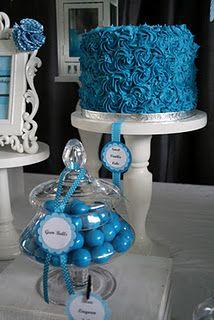 Blue ruffled cake