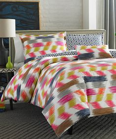 $49.99 marked down from $120! Kendal Duvet Cover Set #colorful #boho #neon #bedding #bedroom #comforter #quilt #duvet #dorm #sale #zulily #zulilyfinds #boho #navy #modern