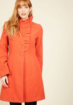 Ruffle Your Weathers Coat in Squash, @ModCloth