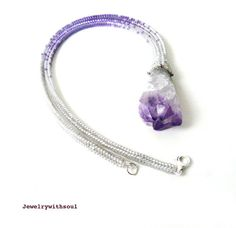 Druzy amethyst stalactite crystal pendant bead and seed bead necklace in light lilac purple and crystal white grey - Frosted tulip