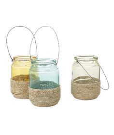 HANGING ROPE LANTERNS | Glass, Ropes, Twine, Coiled, Lantern, Hang, Candles | UncommonGoods
