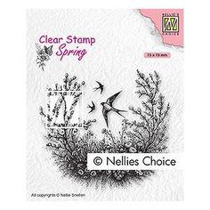 Tampon clear transparent scrapbooking Nellie Snellen OISEAU FEUILLAGE HIRONDELLE PLANTE Tampons Transparents, Clear Stamps, Scrapbooking, Plant, Scrapbooks, Memory Books, Scrapbook, Notebooks