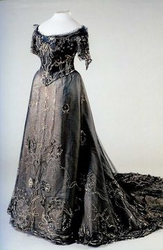 Evening Dress (two bodices and skirt) of black tulle over white satin cover. Belonged to Empress Alexandra Feodorovna