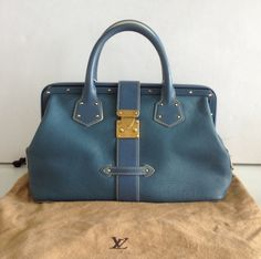 LOUIS VUITTON - BLUE SUHALI LEATHER L'INGENIEUX HANDBAG
