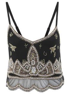Paisley Beaded Cami Crop Top - Vests, Camis & Bandeaus - Tops  - Clothing