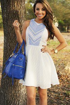 Blown Away Dress: White/Blue