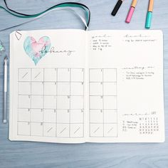 Amazing Valentine's Day theme ideas for your bullet journal - monthly log by Bullet Journal Goals Page, February Bullet Journal, Bullet Journal Font, Journal Fonts, Bullet Journal Printables, Bullet Journal School, Bullet Journal Junkies, Bullet Journal Themes, My Journal