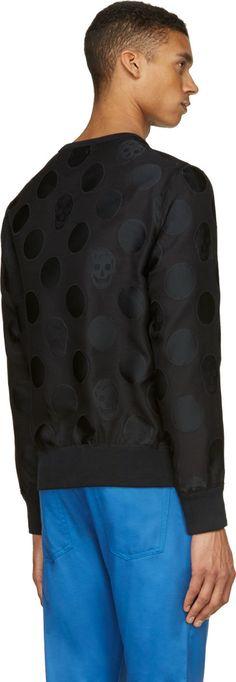 Alexander McQueen Black Textured Skull & Spot Sweatshirt