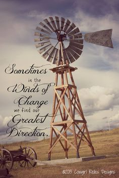 Inspirational Western Photo Art Card-Winds of Change, Windmill – Cowgirl Relics