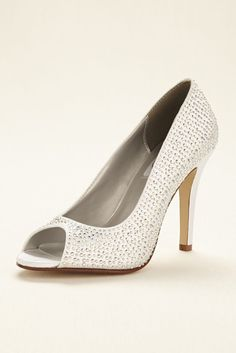 Dyeable Crystal Embellished Wedding & Bridesmaid Peep Toe Pump - White, 7 Women's