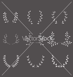 Hand-drawn branches graphic design elements set vector. Laurel frame - by Anastasiaartdes on VectorStock®