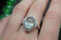 Engagement Ring 4 Carat Prehnite Ring With by stevejewelry