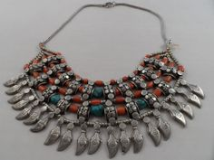 Sterling Silver Vintage Tribal Coral Bead and Turquoise Necklace