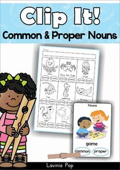 Common and Proper Nouns Clip It! cards and worksheets. What a fun word work center!