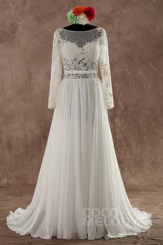 Fabulous Sheath-Column Natural Sweep-Brush Train Chiffon Ivory Long Sleeve Open Back Wedding Dress with Appliques LWVF14002