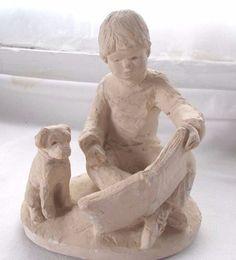 1987 Dee Crowley Bright Eyes Figurine Sculpture Boy Reading Book To Dog
