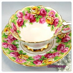 """21 Likes, 4 Comments - Glow Tea Cup (@glowteacup) on Instagram: """"Royal Stafford Rosanne with roses and gold footed @ IDR 1280 k. #teacup #teacupcollector…"""""""