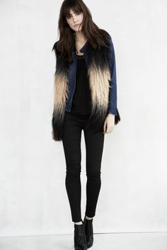 denim jacket in [ chillax ]  faux fur vest in [ not fur real ] and hi rise twill legging in [ player hater ]