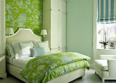This green is soothing. Quadrille's Paradise Garden fabric and wallpaper. Style Stalking: David Kleinberg Design Associates