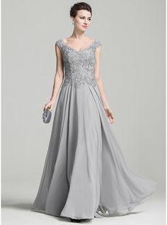 A-Linie/Princess-Linie V-Ausschnitt Bodenlang Chiffon Kleid für die Brautmutter mit Applikationen Spitze