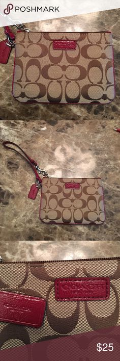 Coach wristlet Burgundy and brown Coach wristlet.  Bought this and never used it.  In excellent condition.  Offers considered through offer button. Coach Bags Clutches & Wristlets