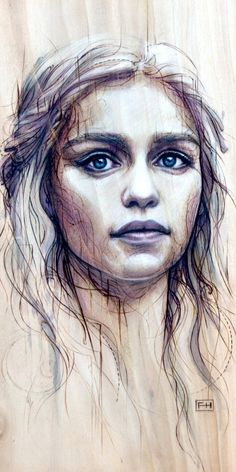 Daenerys from Game of Thrones - Print on Wood by FayHelfer on Etsy, $65.00