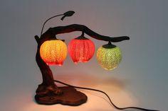 Korean Paper Round Lantern Table Bedside Flower Lamp Home Decor Orange Red Green #GOSAEK #Traditional