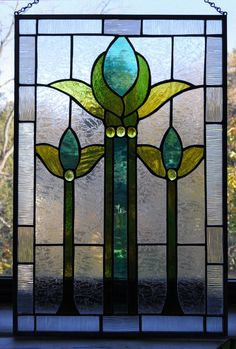 Stained Glass Teal and Green Floral by BiltmoreStainedGlass, $200.00