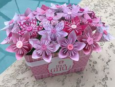 It's a Girl Origami/Kusudama Pink Flower by kreationsbykia