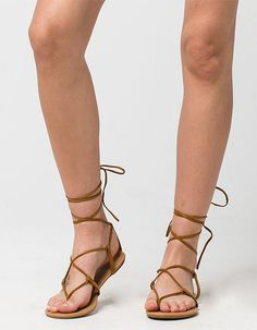CITY CLASSIFIED Lace Up Leg Wrap Womens Sandals