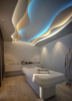 Spa Treatment on Behance Informations About Spa Treatment on Behance Pin You can easily - Health interests Interior Ceiling Design, Clinic Interior Design, House Ceiling Design, Ceiling Design Living Room, Bedroom False Ceiling Design, Design Offices, Modern Offices, Clinic Design, Office Designs